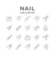 set line icons nails vector image