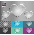Set of glass speech bubble heart icons with soft vector image vector image