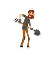 smiling male farmer working with shovel cheerful vector image vector image