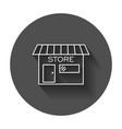 store icon in flat style shop symbol with long vector image vector image