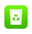 trash bin with recycle symbol icon digital green vector image vector image