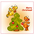 two cheerful dragon decorate a christmas tree vector image vector image