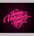 Valentines day neon script lettering