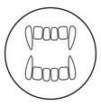 vampires teeths icon black color in circle round vector image vector image