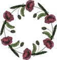 Watercolor beautiful poppy wreath vector image