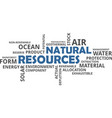 word cloud - natural resources vector image vector image