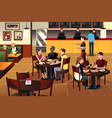 young people eating pizza together in a restaurant vector image