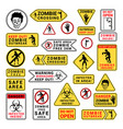 zombie attention beware and caution sign set vector image vector image