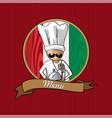 restaurant menu design with italian chef vector image