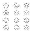 Baby smile face emoticons icons vector image