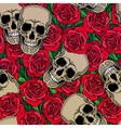 Seamless pattern with skulls and red roses vector image