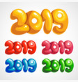 a set of colored inspirational cartoons of 2019 vector image vector image