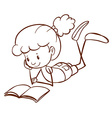 A simple sketch of a young kid reading vector image vector image