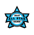 all star game sport emblem logo in the shape of vector image vector image