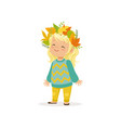beautiful blonde little girl in warm clothing and vector image vector image
