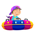 Boy riding on bump car vector image