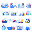 business analytics flat icons vector image