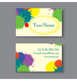 business card with blots vector image vector image