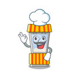 chef popcorn vending machine in a character vector image vector image