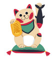 chinese or japanese cat statuette with fish vector image vector image