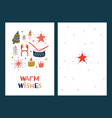 christmas greeting cards with mistletoe vector image