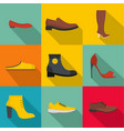 clog icons set flat style vector image vector image