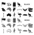 country australia black icons in set collection vector image vector image