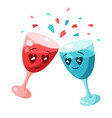 cute couple glasses in love valentine day vector image vector image