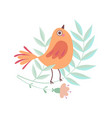 cute little bird sitting on tree branch adorable vector image vector image