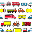 cute seamless background with cartoon cars vector image