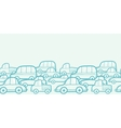 Doodle cars horizontal seamless pattern background vector image vector image