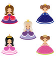 five cute princesses vector image