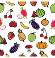 fruit and vegetable pattern seamless background vector image