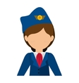 half body flight attendant with suit and hat vector image vector image