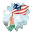 hand holding usa flag vintage engraving vector image vector image