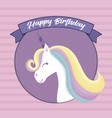Happy birthday card with cute unicorn head