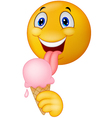Happy emoticon smiley licking ice cream vector image vector image