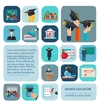 Higher Education Icons Flat vector image