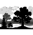 Landscape trees river and birds silhouette vector image vector image