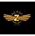 Letter Z winged crests logo Alphabet logotype vector image