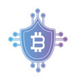 line bitcoin shield with electronic circuits vector image