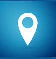 Map pin icon on blue background pointer symbol