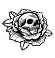 old school rose tattoo with skull vector image vector image