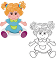 Outlined girl doll toy vector image vector image