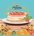 pie of thanksgiving day with garlands vector image vector image
