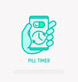 pill timer health mobile app thin line icon vector image vector image