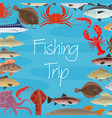 poster for fishing trip and seafood fish vector image vector image