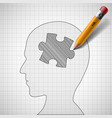 puzzle in the human head vector image