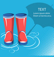 rain backgroundred rubber boots with umbrella vector image