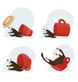 red cup hot spilled coffee set vector image vector image